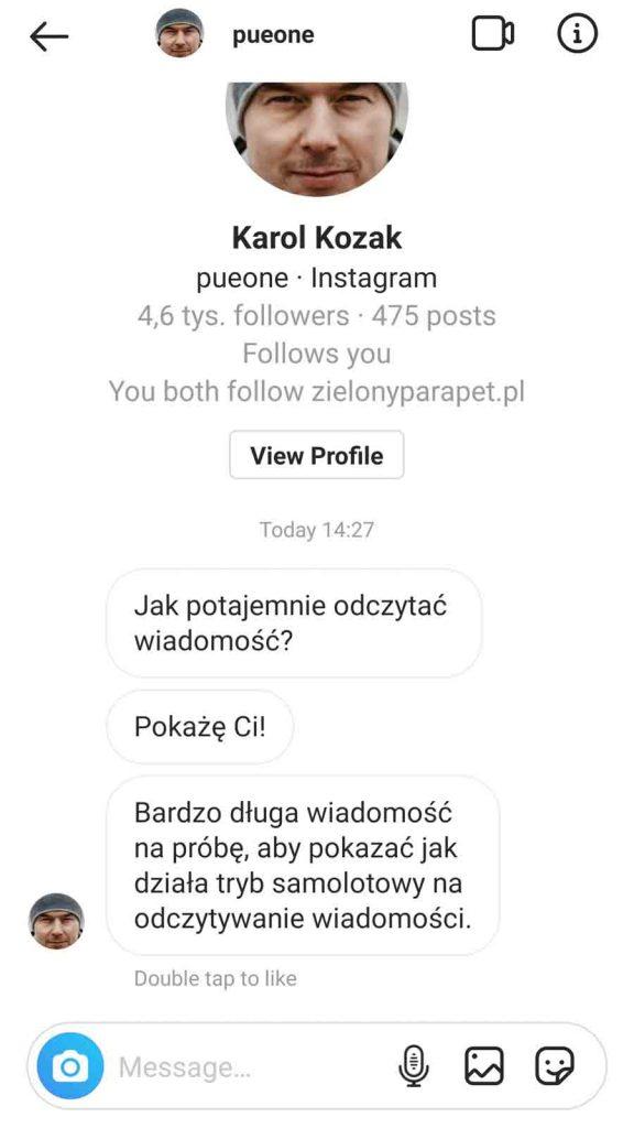 wiadomość na Instagramie