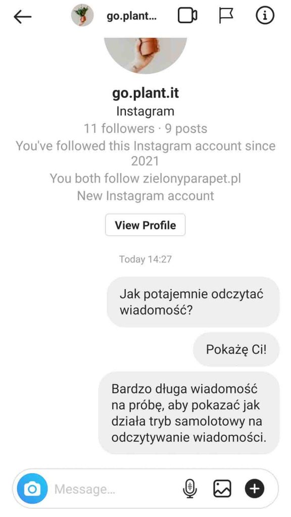 wiadomości na Instagramie